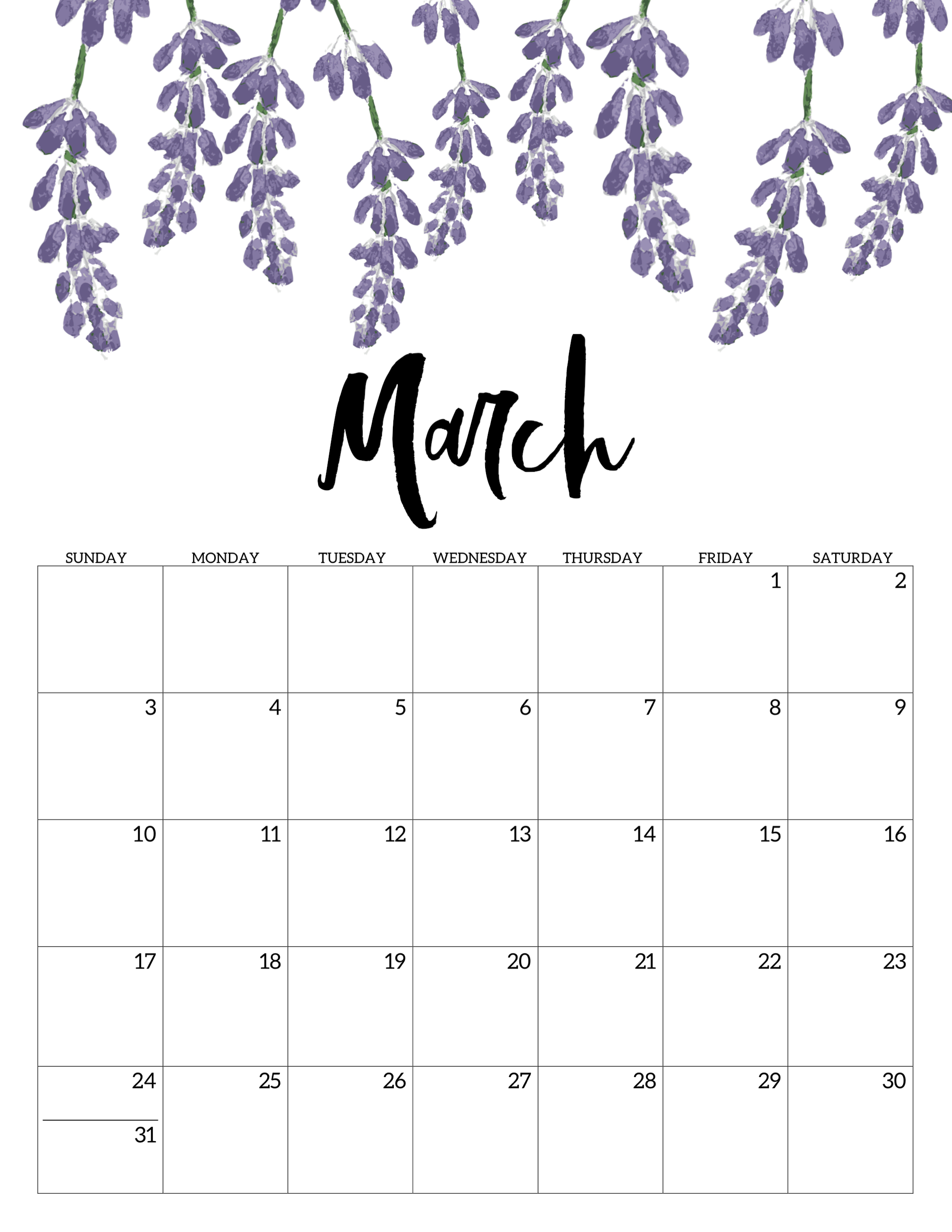 Blank March Calendar 2019 Pdf - Free Printable Calendar Templates intended for Free Cute Printable Calendar Templates
