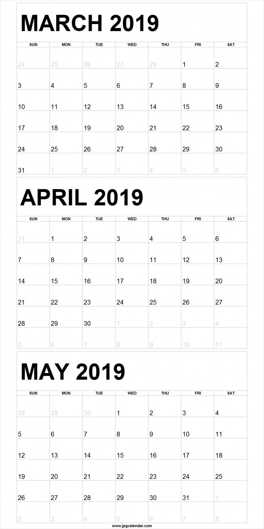 Blank March To May 2019 Calendar Printable | 250+ Free Monthly for Blank 3 Month Calendar Template