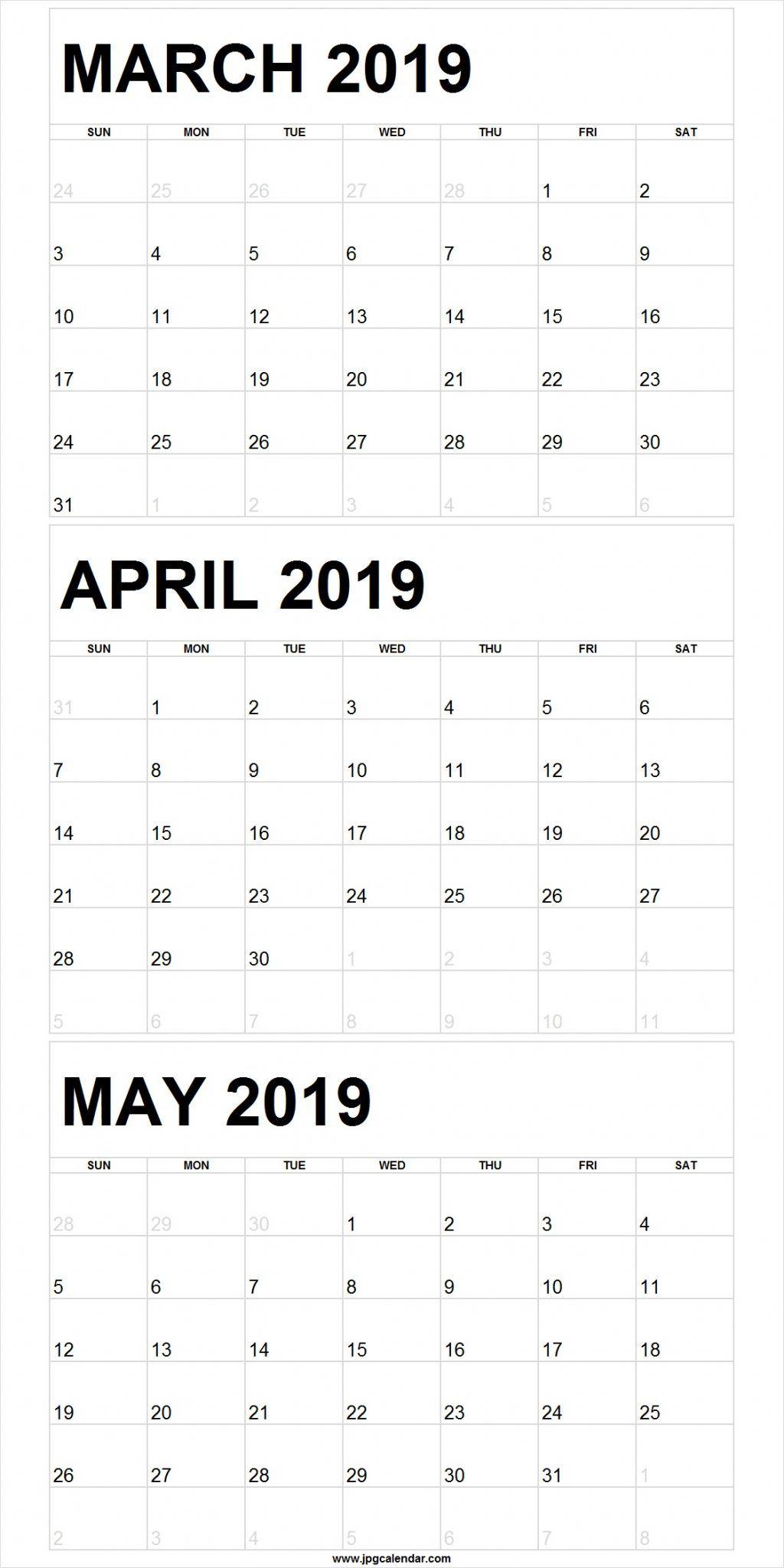 Blank March To May 2019 Calendar Printable | 250+ Free Monthly with regard to Blank 3 Month Printable Monthly Calendar