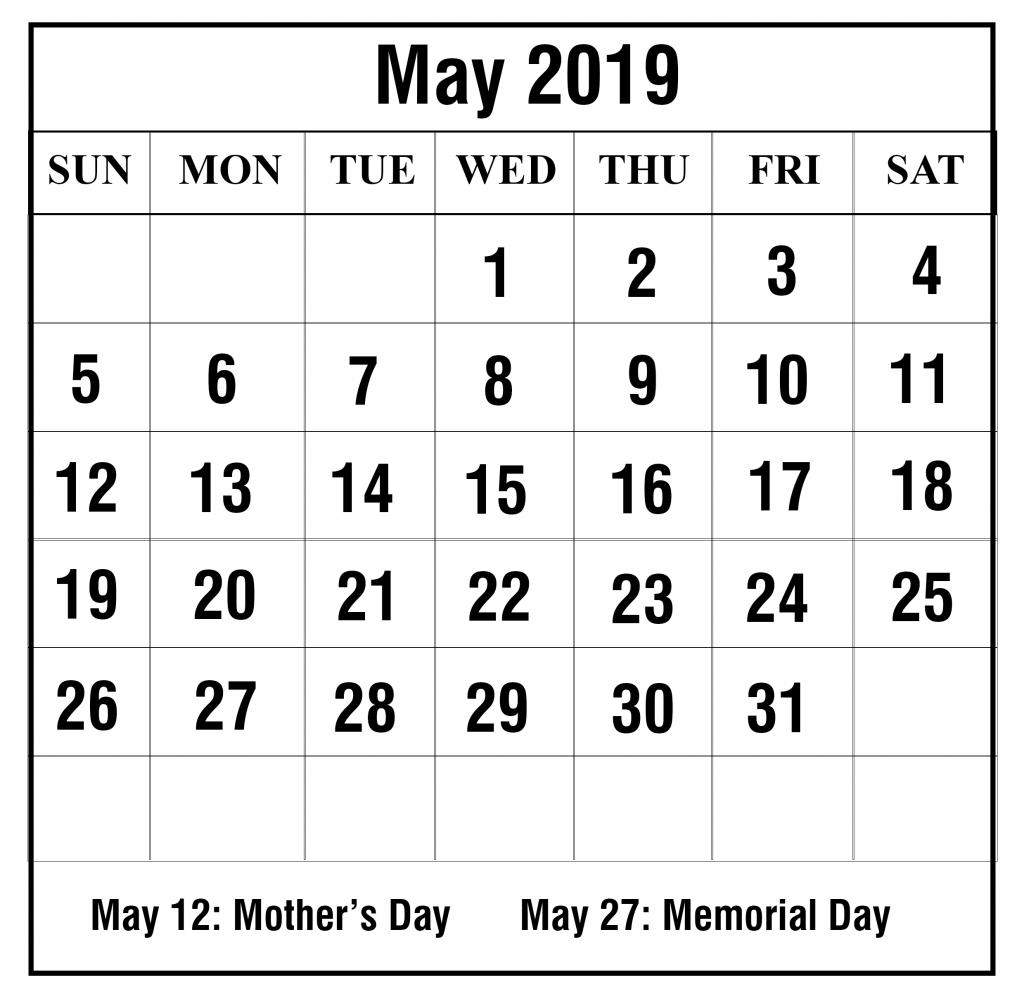 Blank May 2019 Calendar Printable In Pdf, Word, Excel | Printable for Printable Blank 31 Day Calendar