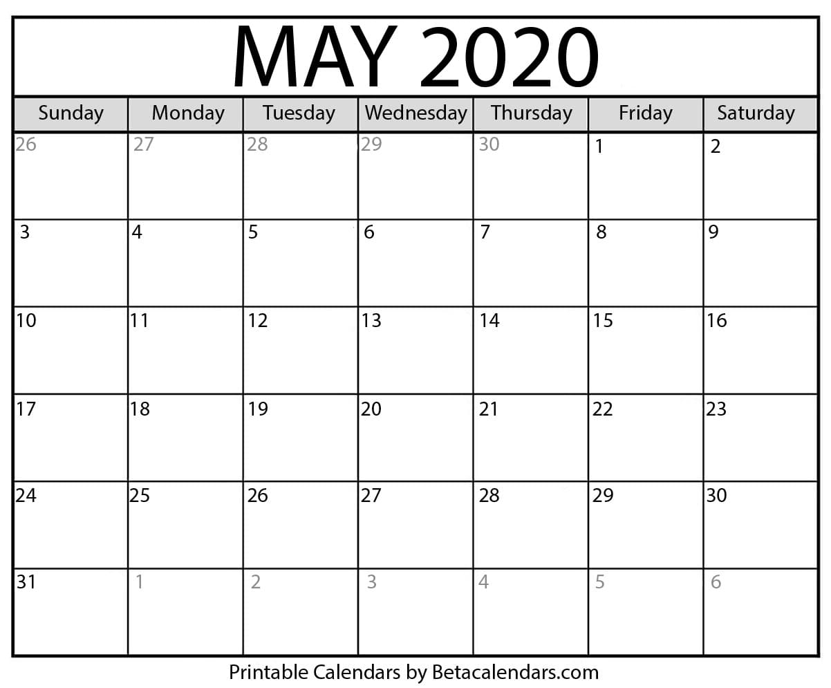 Blank May 2020 Calendar Printable - Beta Calendars within 2020Printable Monday Through Sunday Calendars