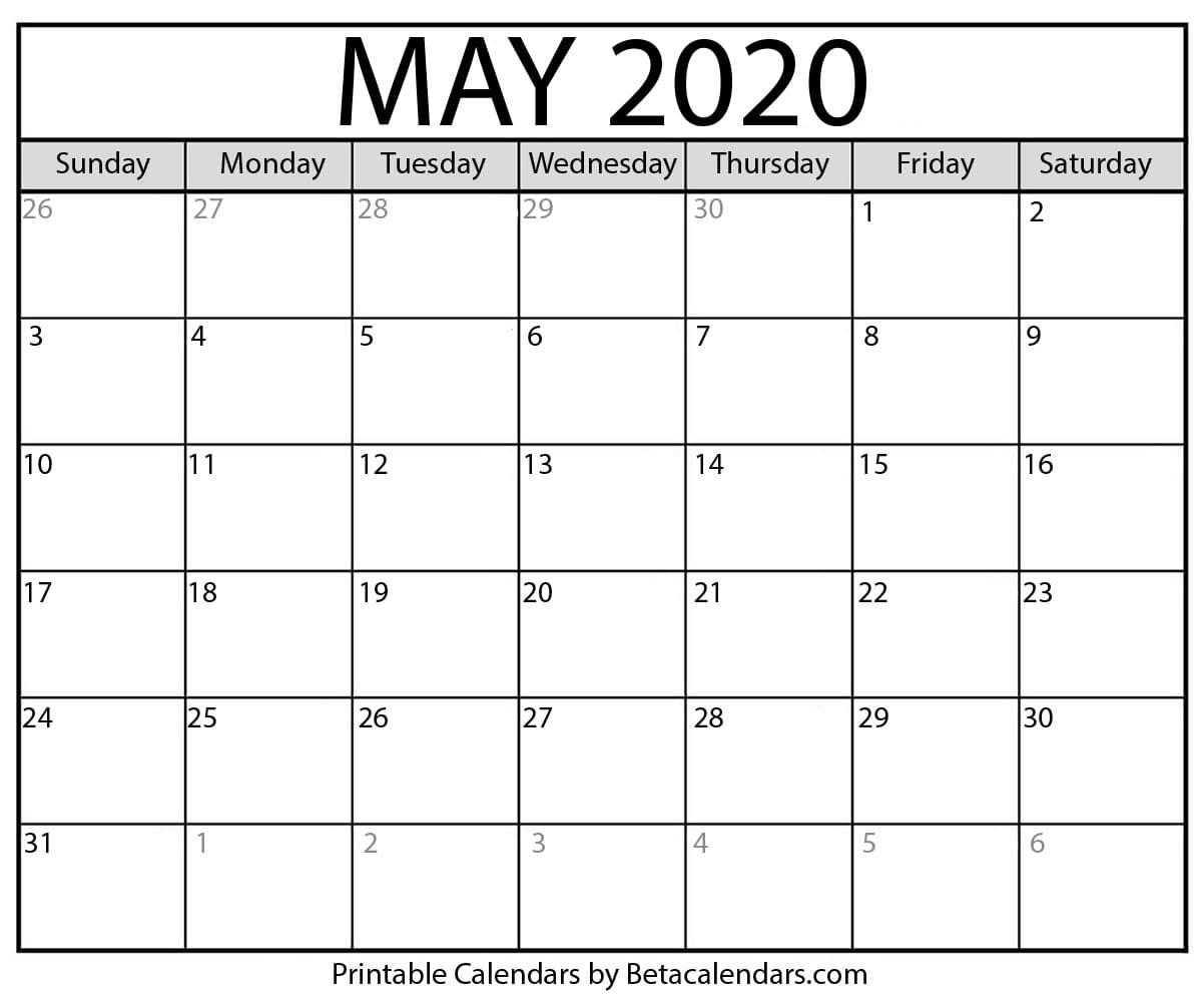 Blank May 2020 Calendar Printable - Beta Calendars within National Day Calendar 2020 Printable