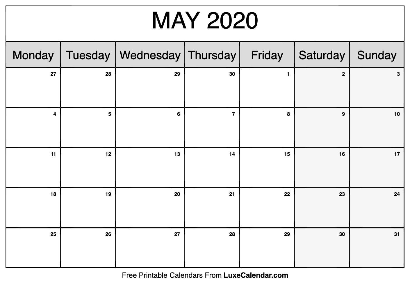 Blank May 2020 Calendar Printable - Luxe Calendar for Printable 2020 Calendar Monday To Friday