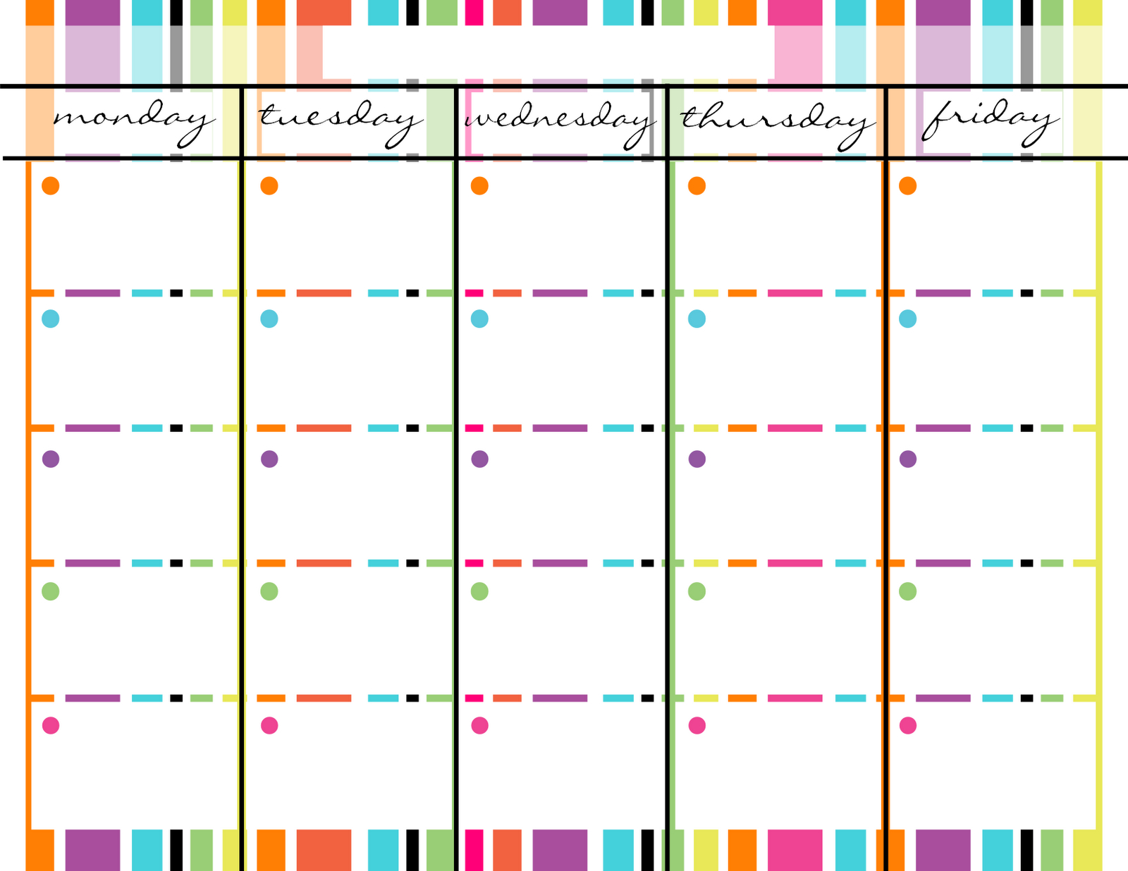 Blank Monday Through Friday Printable Calendar | School | Weekly regarding Monday Through Friday Blank Calendar Printable