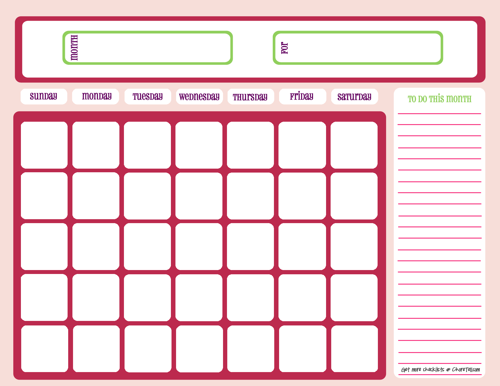Blank Month Calendar - Pinks - Free Printable Downloads From Choretell in Cute Blank Calendar Page Template