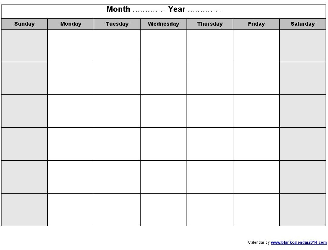 Blank Monthly Calendar 2014 Printable | J | Printable Blank Calendar for Template Of A Blank Calendar Of A Month