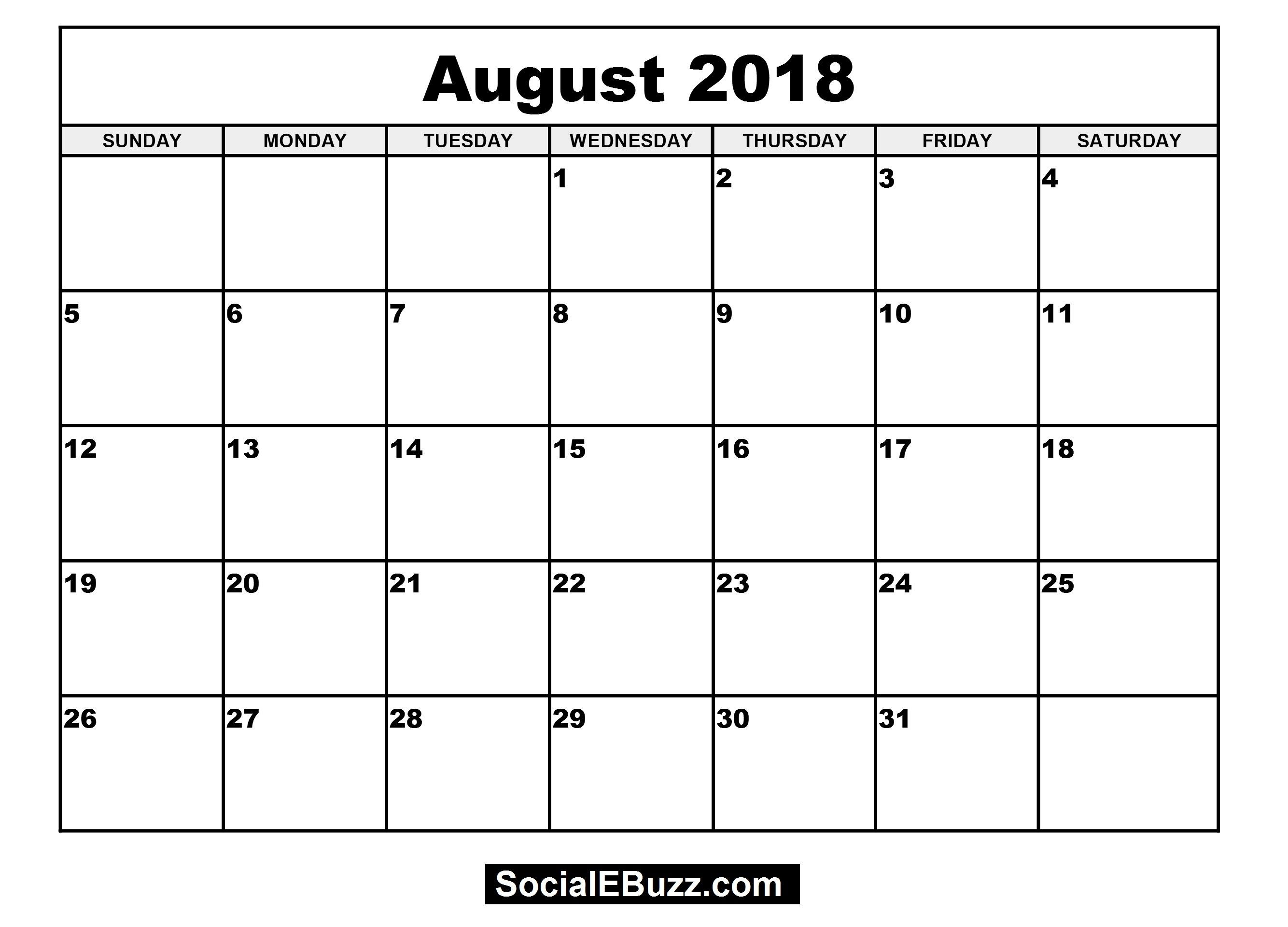 Blank Monthly Calendar For 4×6 2018 Printable For 100 % Free for Free Monthly Calendar Templates 4X6