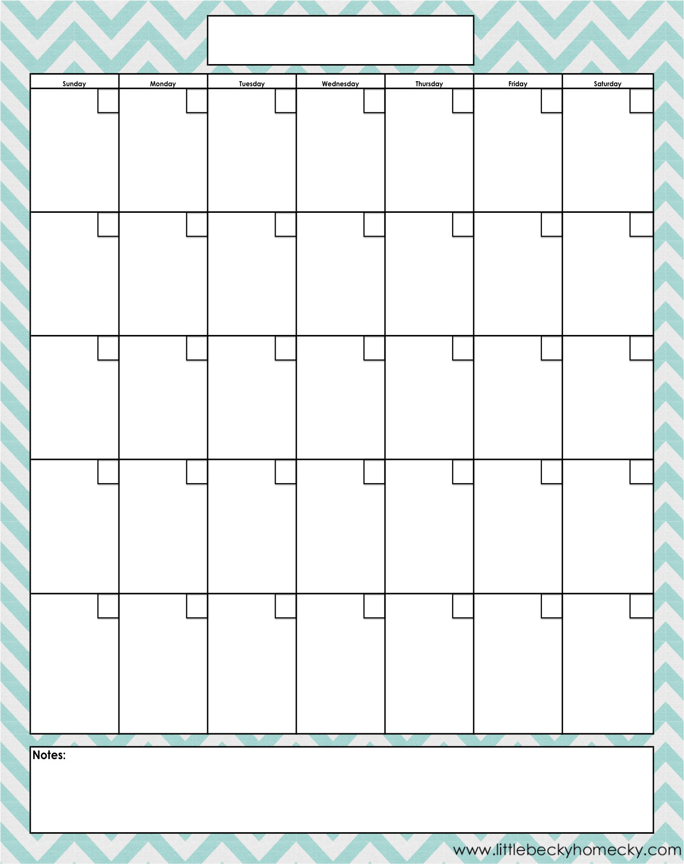 Blank-Monthly-Calendar-Printable-Pdfs in Blank 30 Day Month Calendar