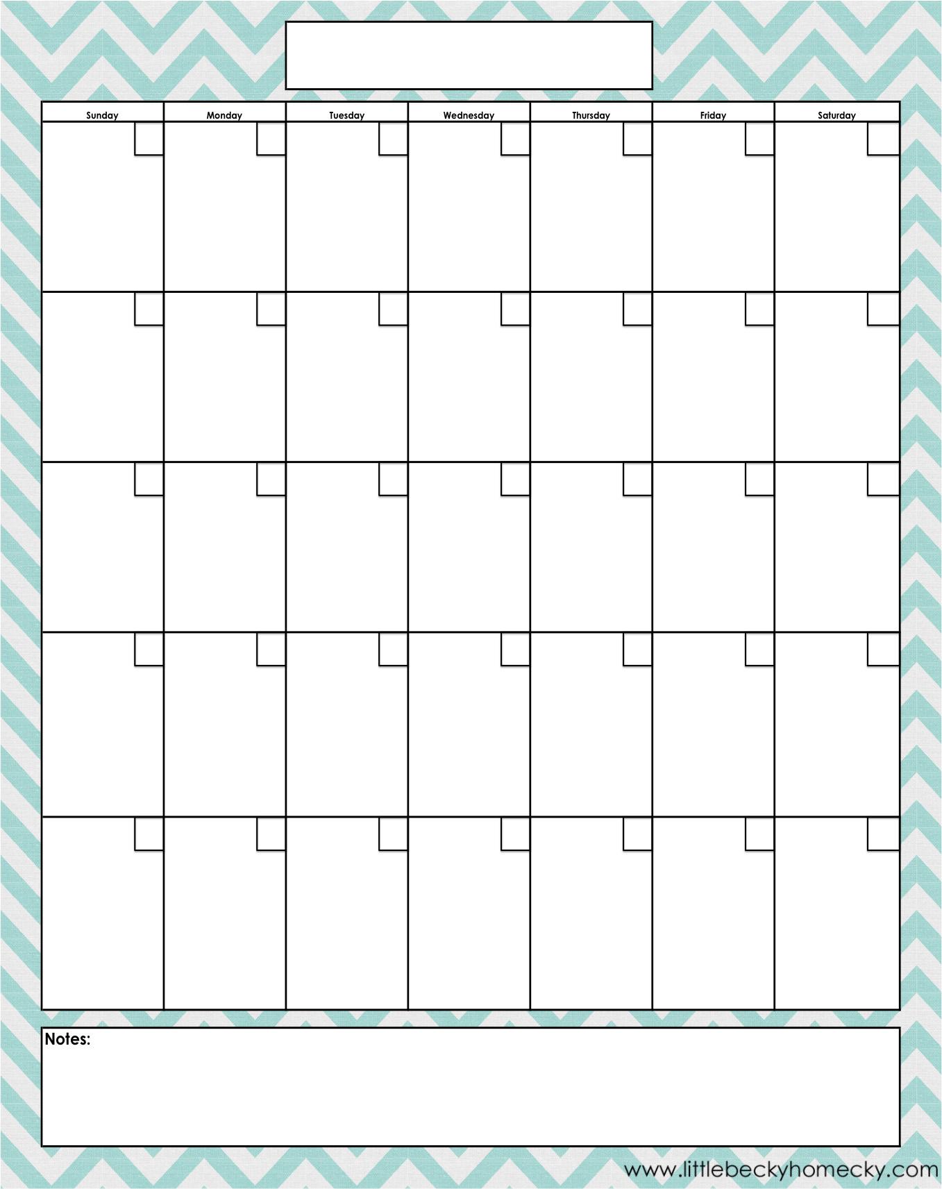 Blank-Monthly-Calendar-Printable-Pdfs throughout Blank Monthly Calendar Print Out