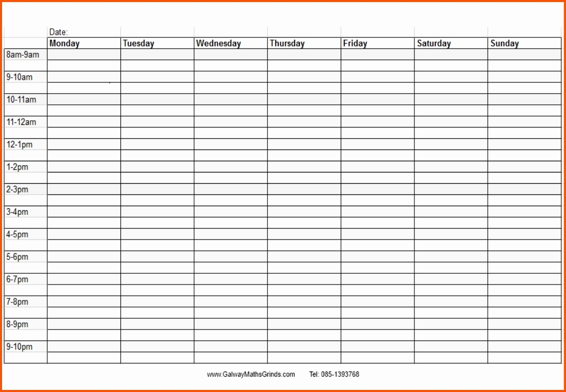 Blank Monthly Calendar With Times Template Time And Date Daily Slots for Blank Calendar Printable With Times