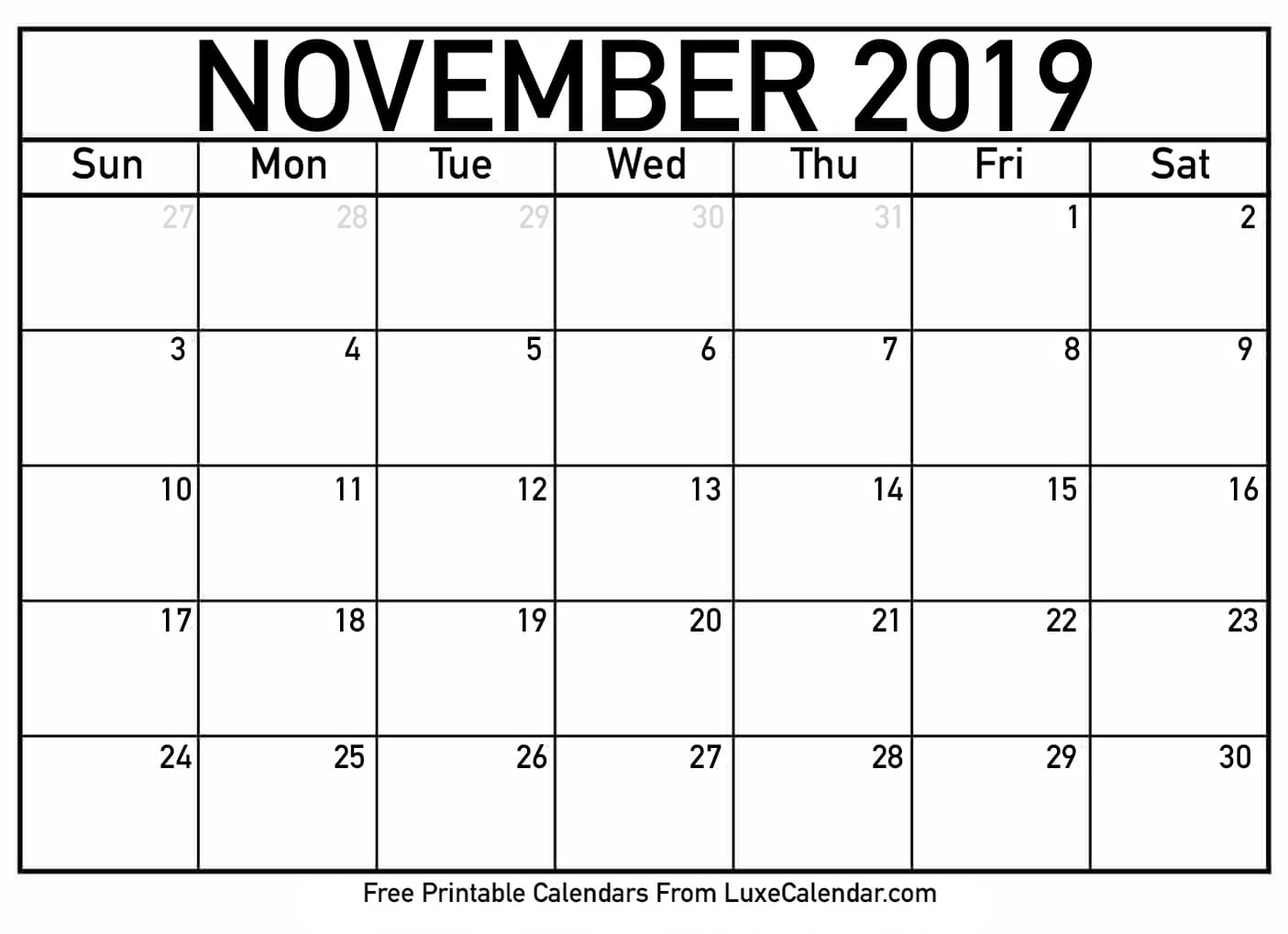Blank November 2019 Calendar Templates Printable Download - July regarding November Calendar Template Free