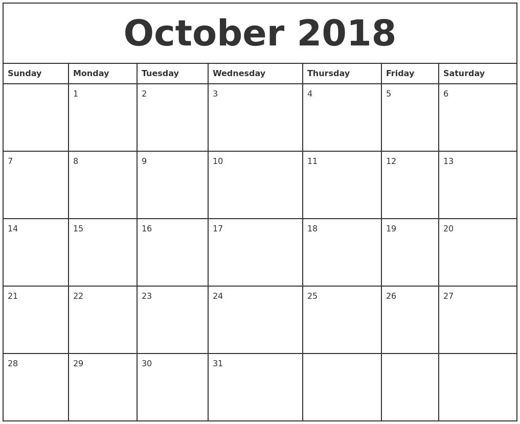 Blank October 2018 Calendar Printable Pdf Templates regarding Monthly Calendar Printable Blank Pdf