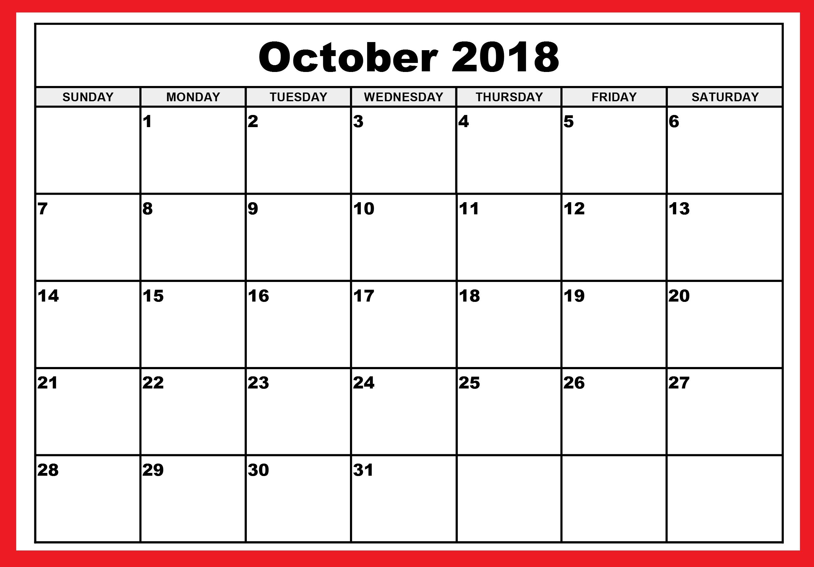 Blank October 2018 Calendar Printable Template Pdf inside October Calendar Printable Template