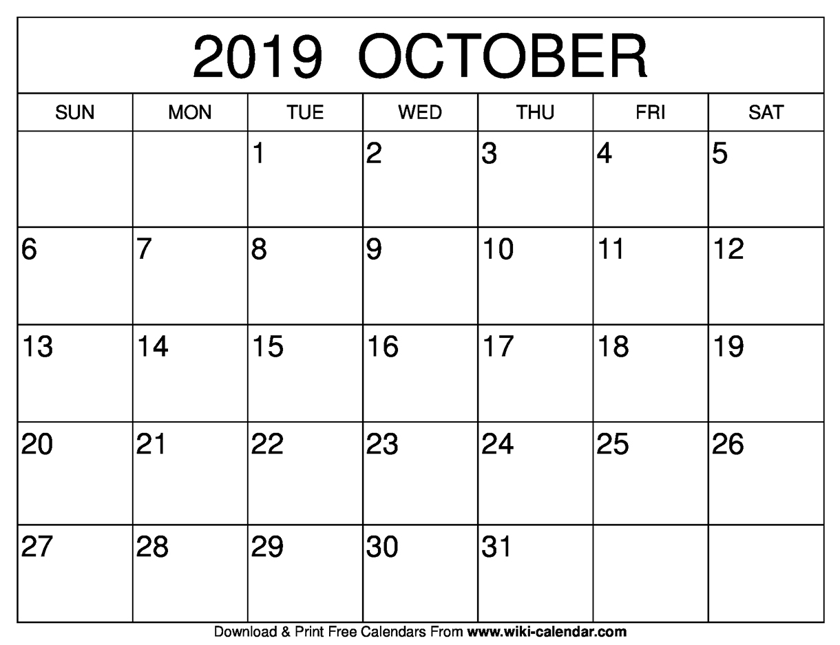 Blank October 2019 Calendar Printable for Free Printable Scary October Calendar 2019