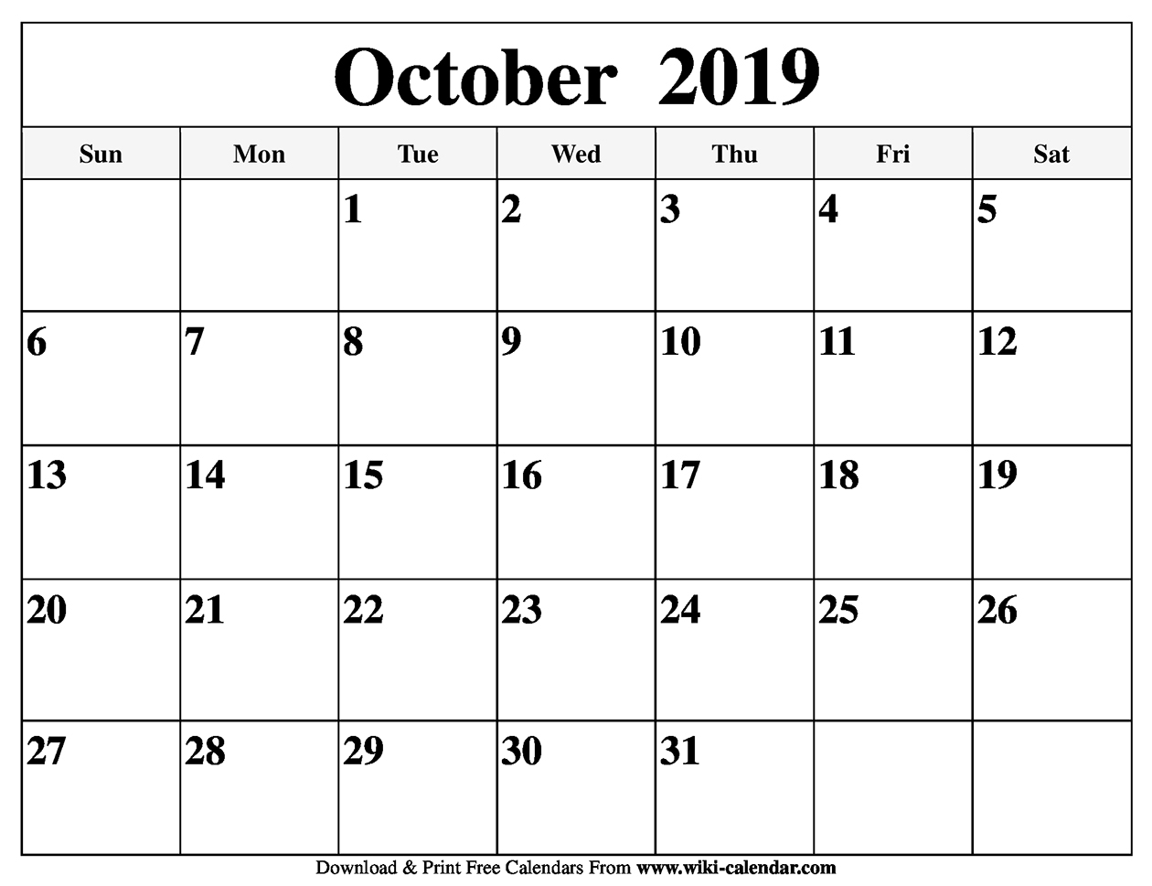 Blank October 2019 Calendar Printable in Free Printable Scary October Calendar 2019