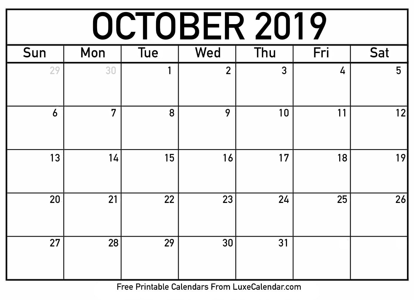 Blank October 2019 Calendar Printable - Luxe Calendar intended for Free Printable Scary October Calendar 2019