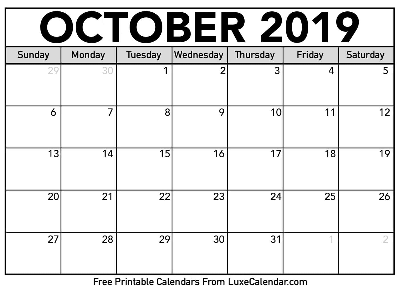 Blank October 2019 Calendar Printable - Luxe Calendar with regard to Free Printable Scary October Calendar 2019