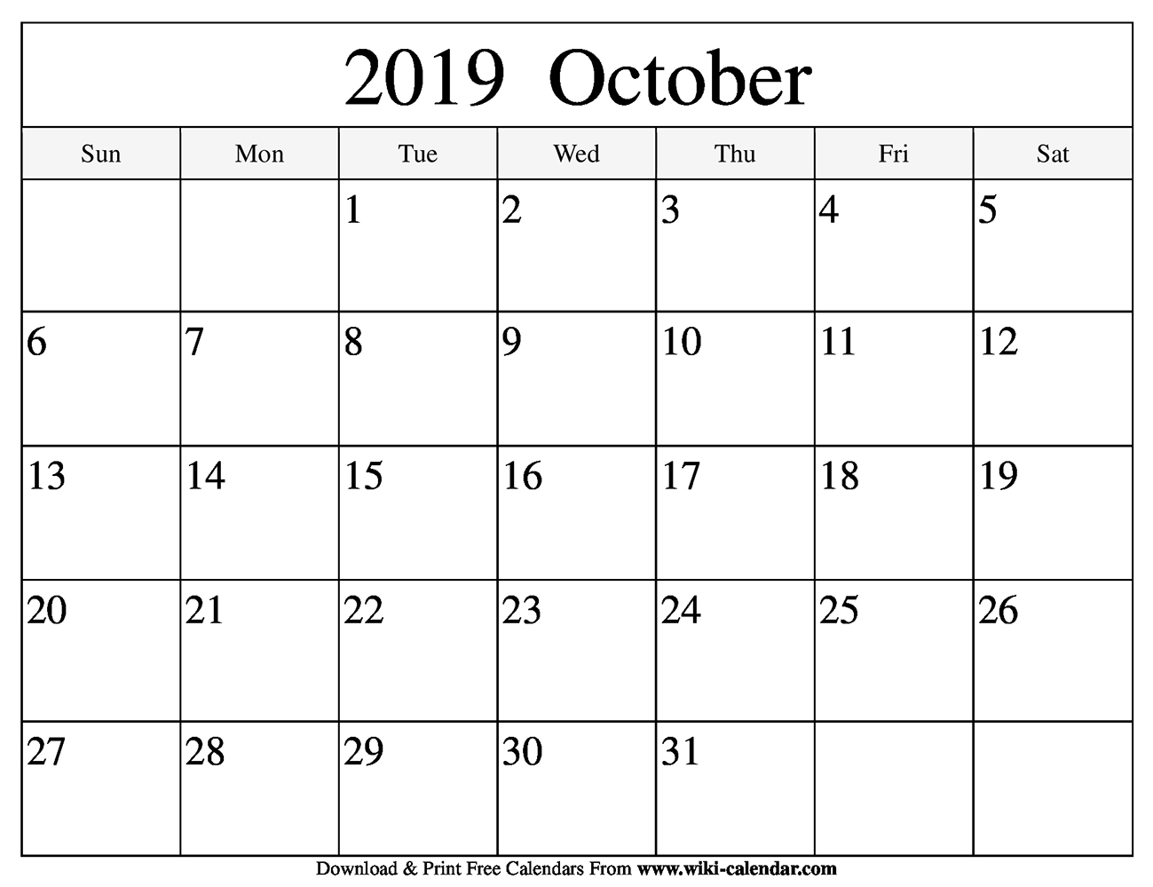Blank October 2019 Calendar Printable throughout Calendar Blanks August Through October 2019