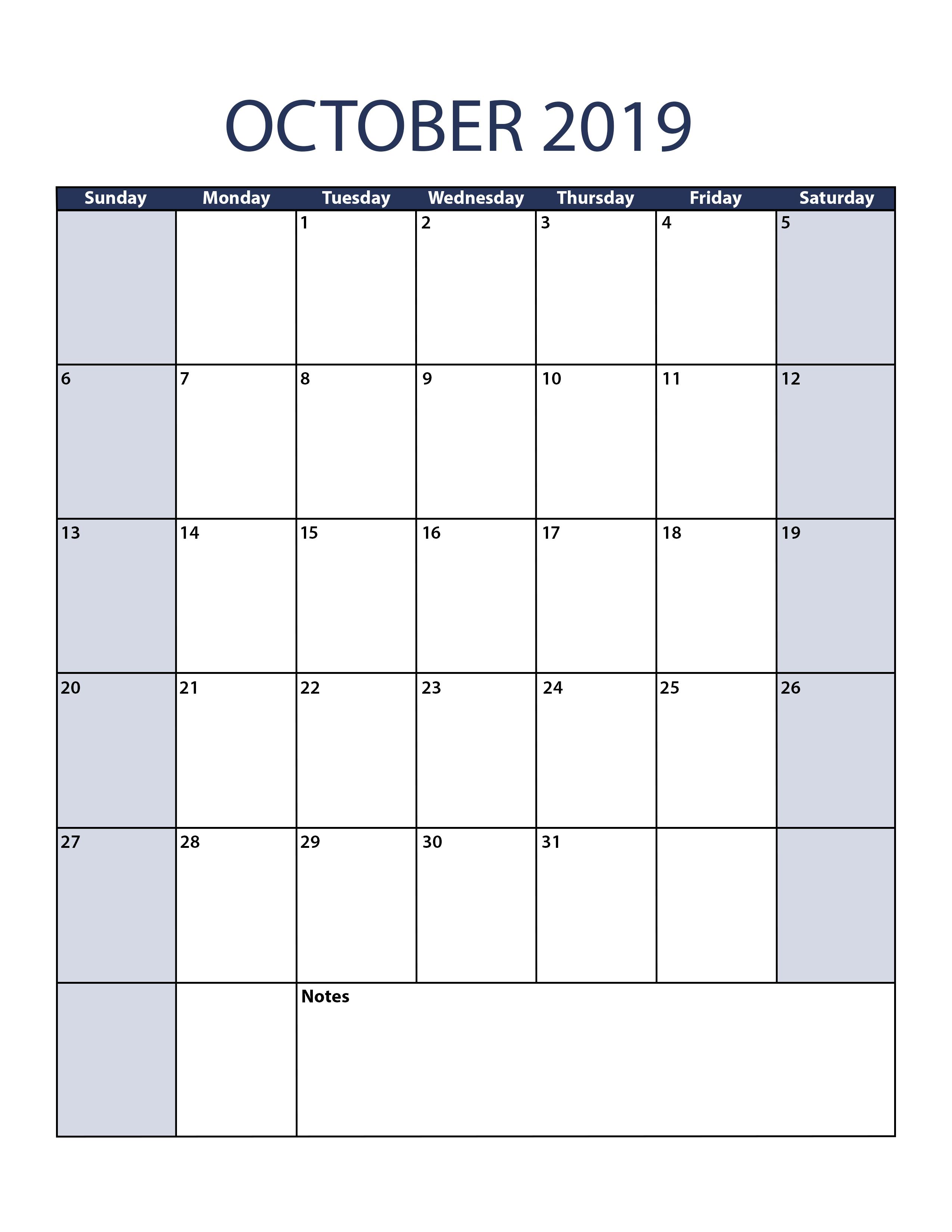 Blank October 2019 Calendar To Print regarding Catholic Calander For October 2019