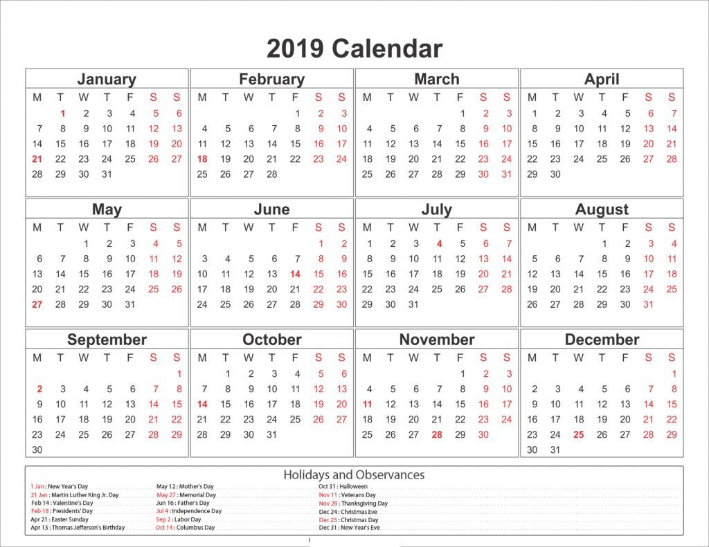 Blank One Page 2019 Printable Calendar | 2019 Calendars | Calendar with regard to Blank Year Calendar On One Page