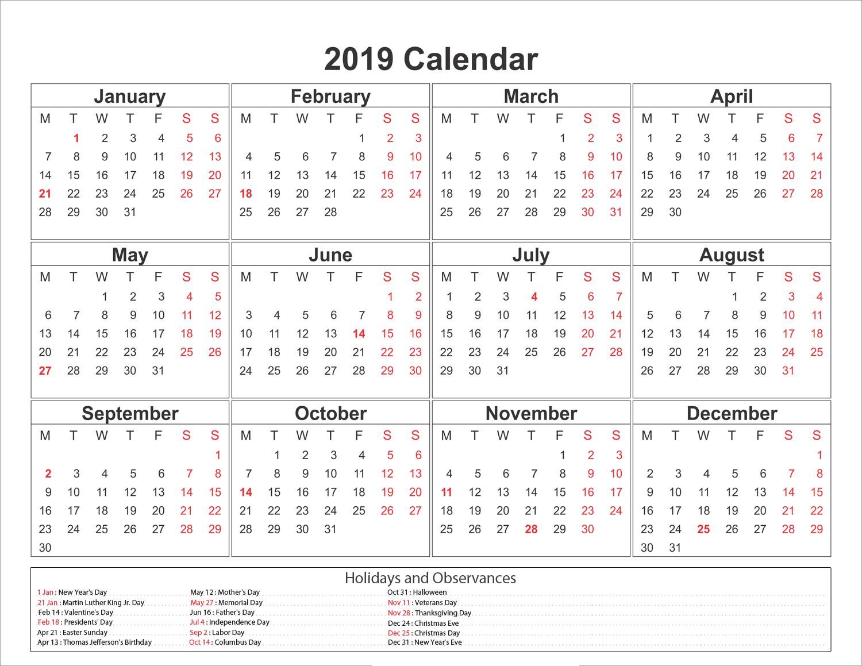 Blank Printable Calendar 2019 With Holidays   Printableshelter in 2020 Vertex Calendars Printable Free
