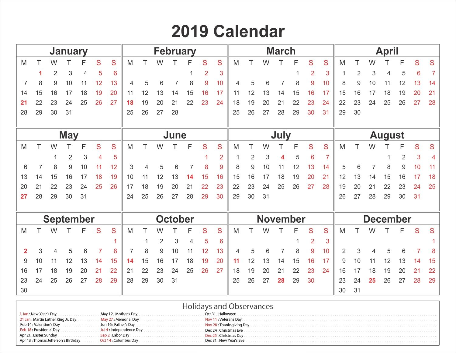 Blank Printable Calendar 2019 With Holidays Printablesheltermonthly with Free Printable Calendars 2019-2020 With Holidays
