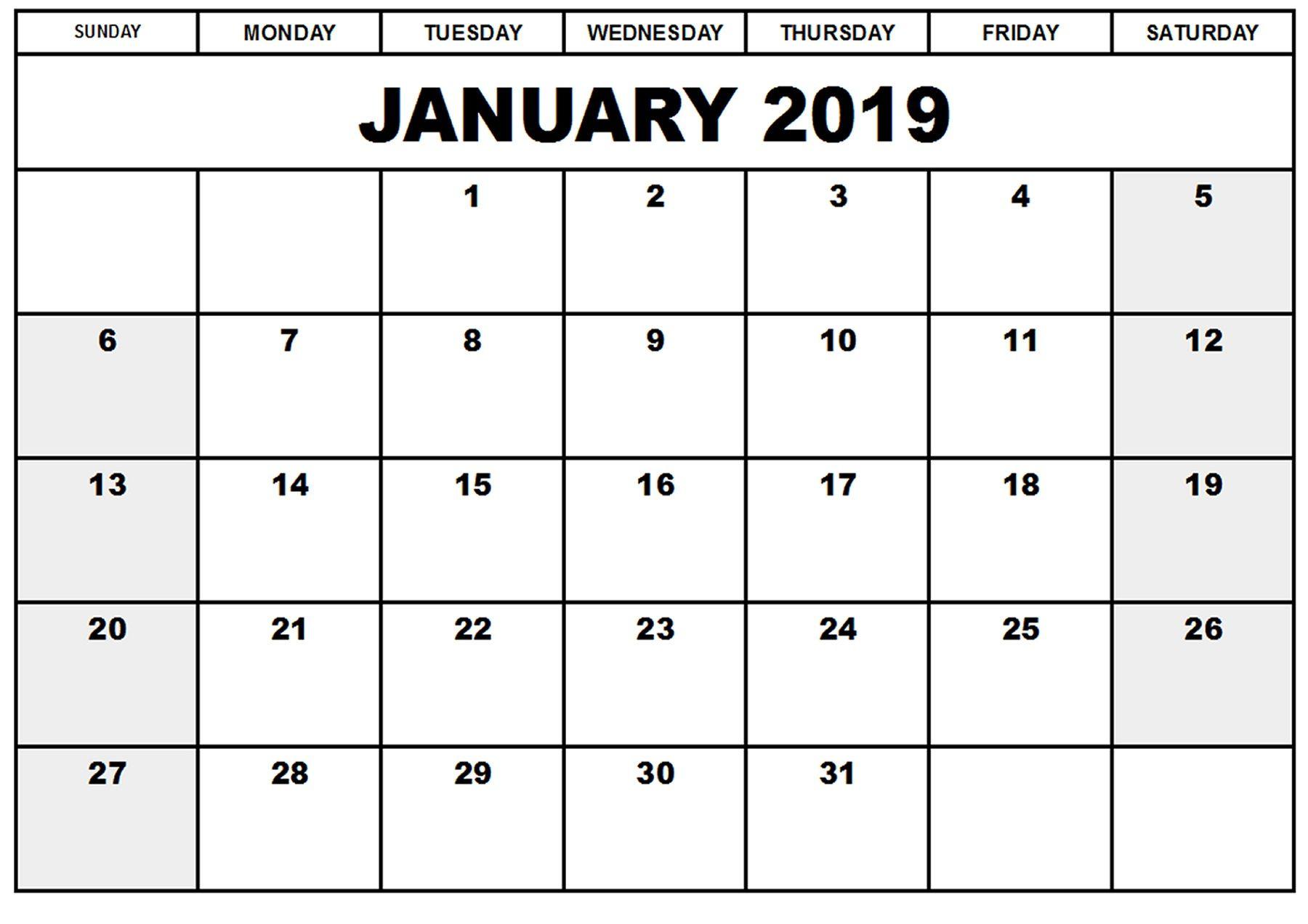 Blank Printable Calendar January 2019 | Printableshelter | Calendar inside Blank Printable Calendar Pages