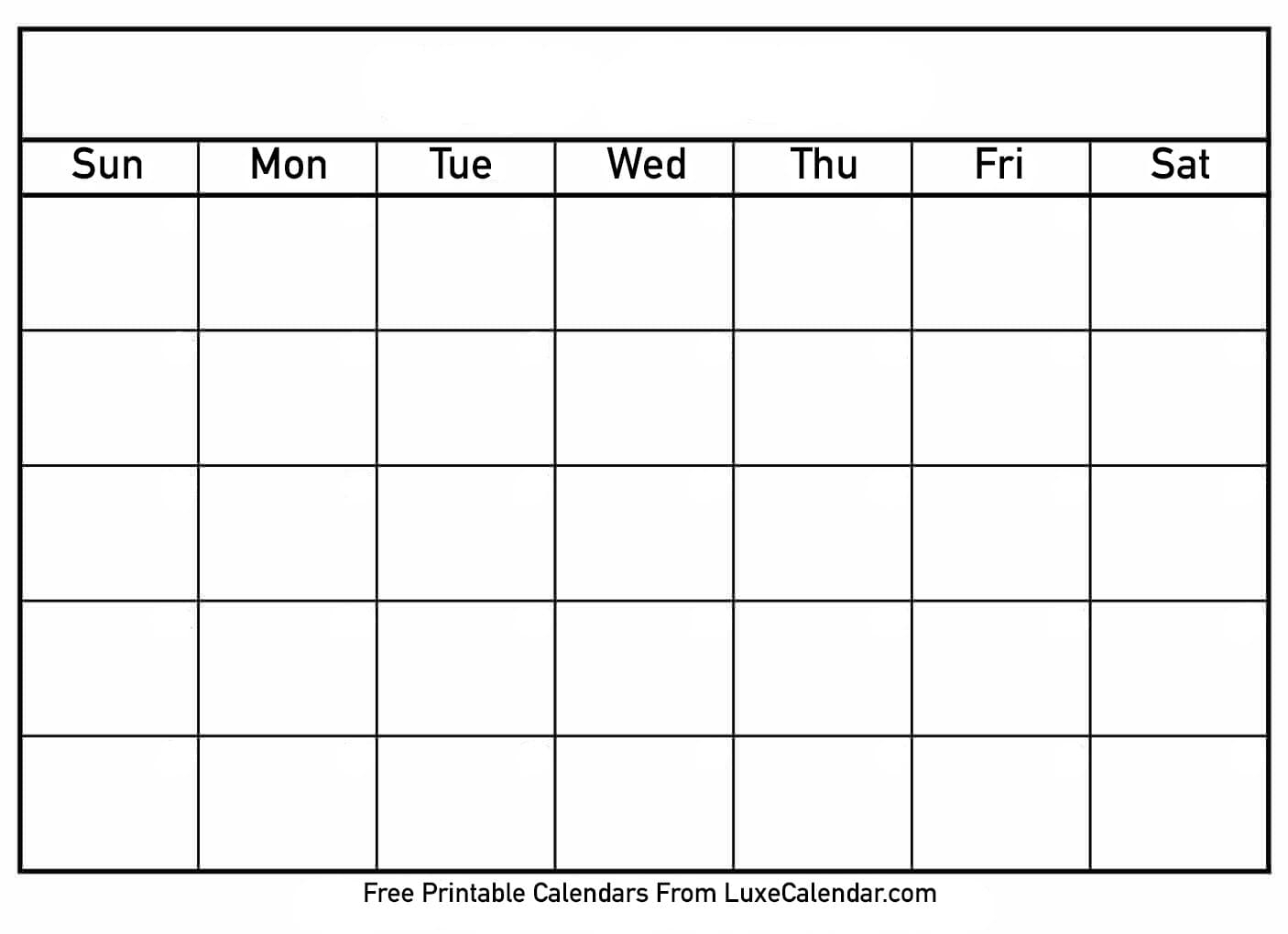 Blank Printable Calendar - Luxe Calendar inside Free Printable Blank Calendar Templates