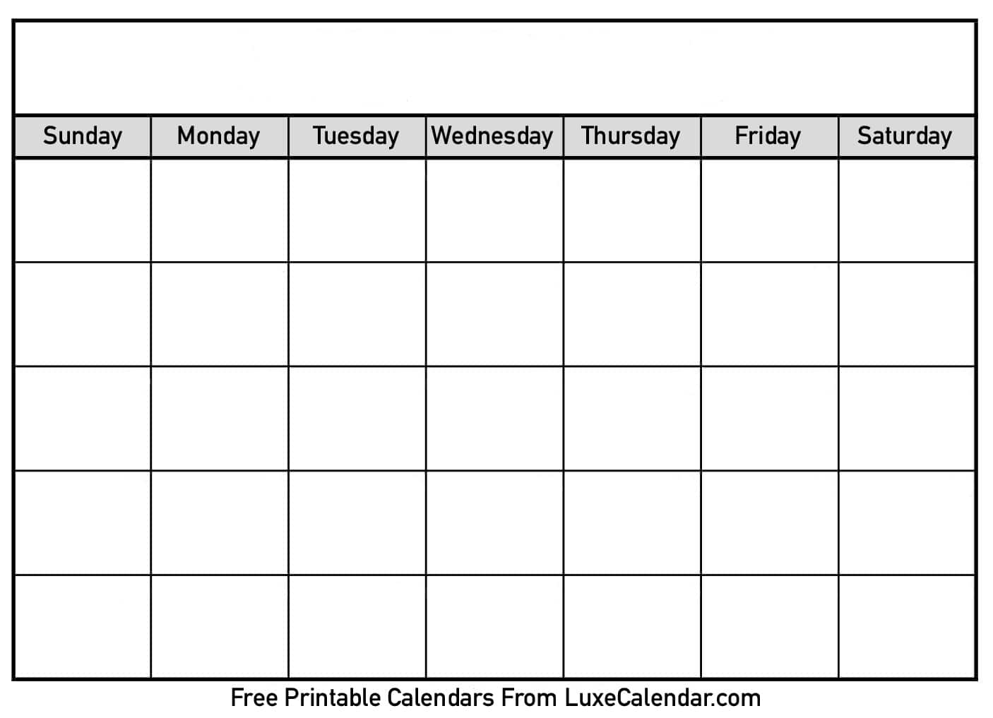 Blank Printable Calendar - Luxe Calendar pertaining to Fill In Calendar Template Printable