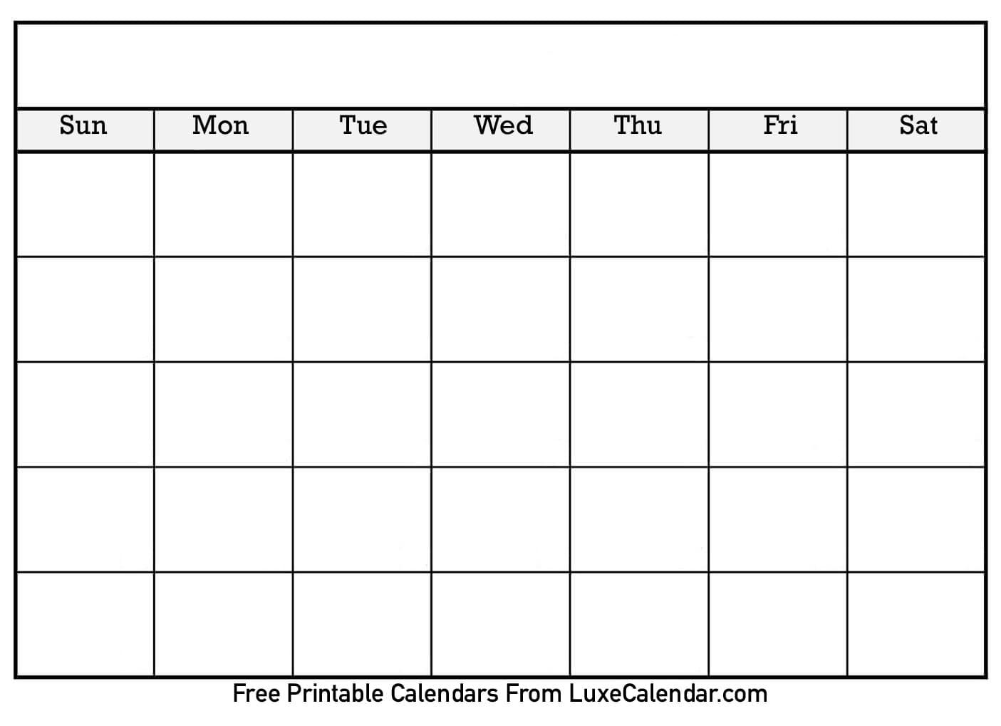 Blank Printable Calendar - Luxe Calendar regarding Printable Monthly Blank Calendar Page