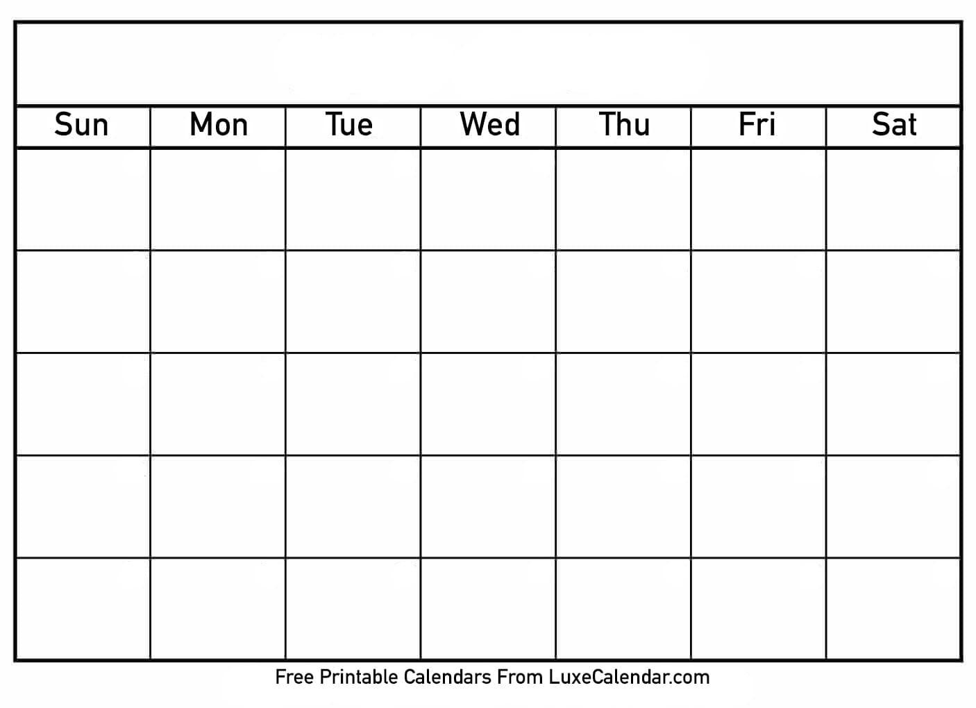 Blank Printable Calendar - Luxe Calendar with regard to Printable Calendar Template Week Day Only