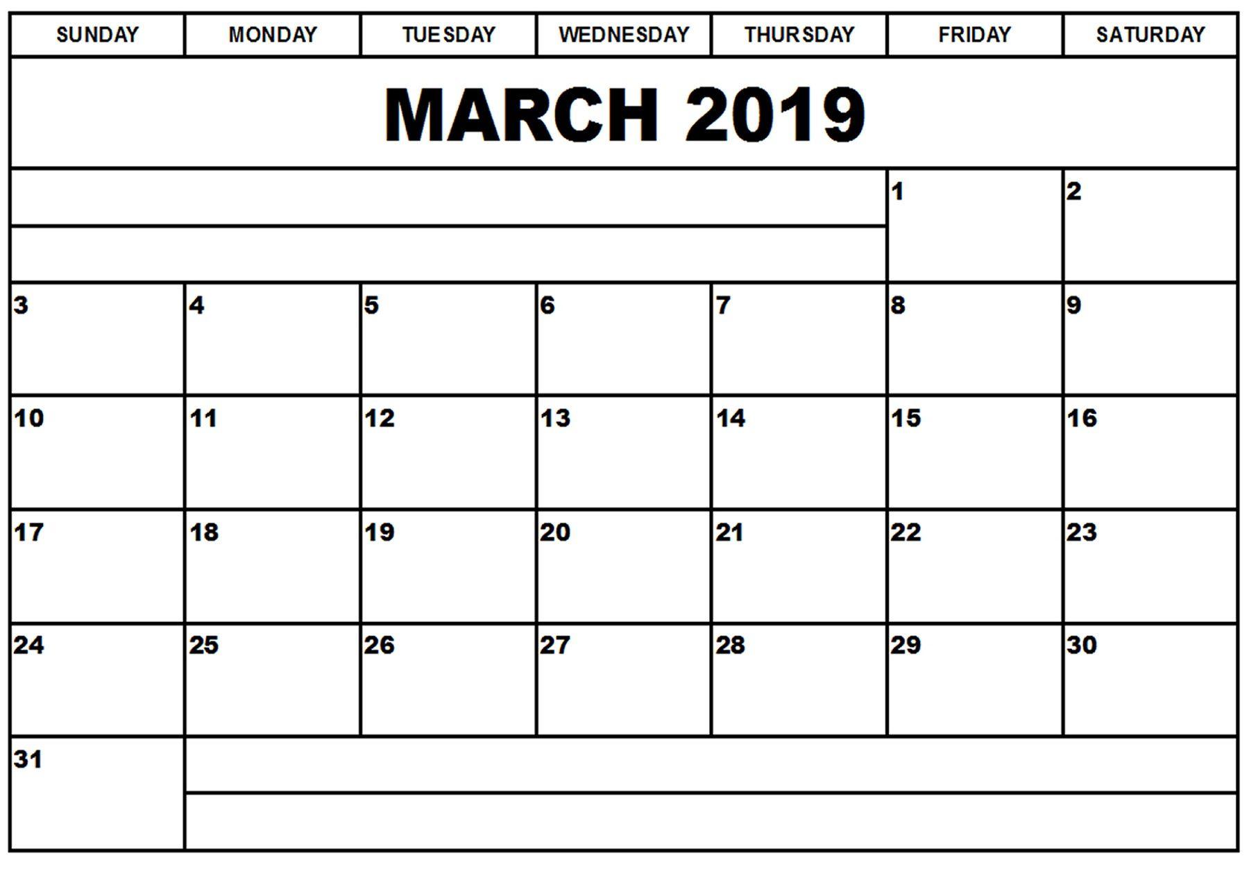 Blank Printable Calendar March 2019 | Printableshelter | Calendar throughout Blank Printable Calendar March