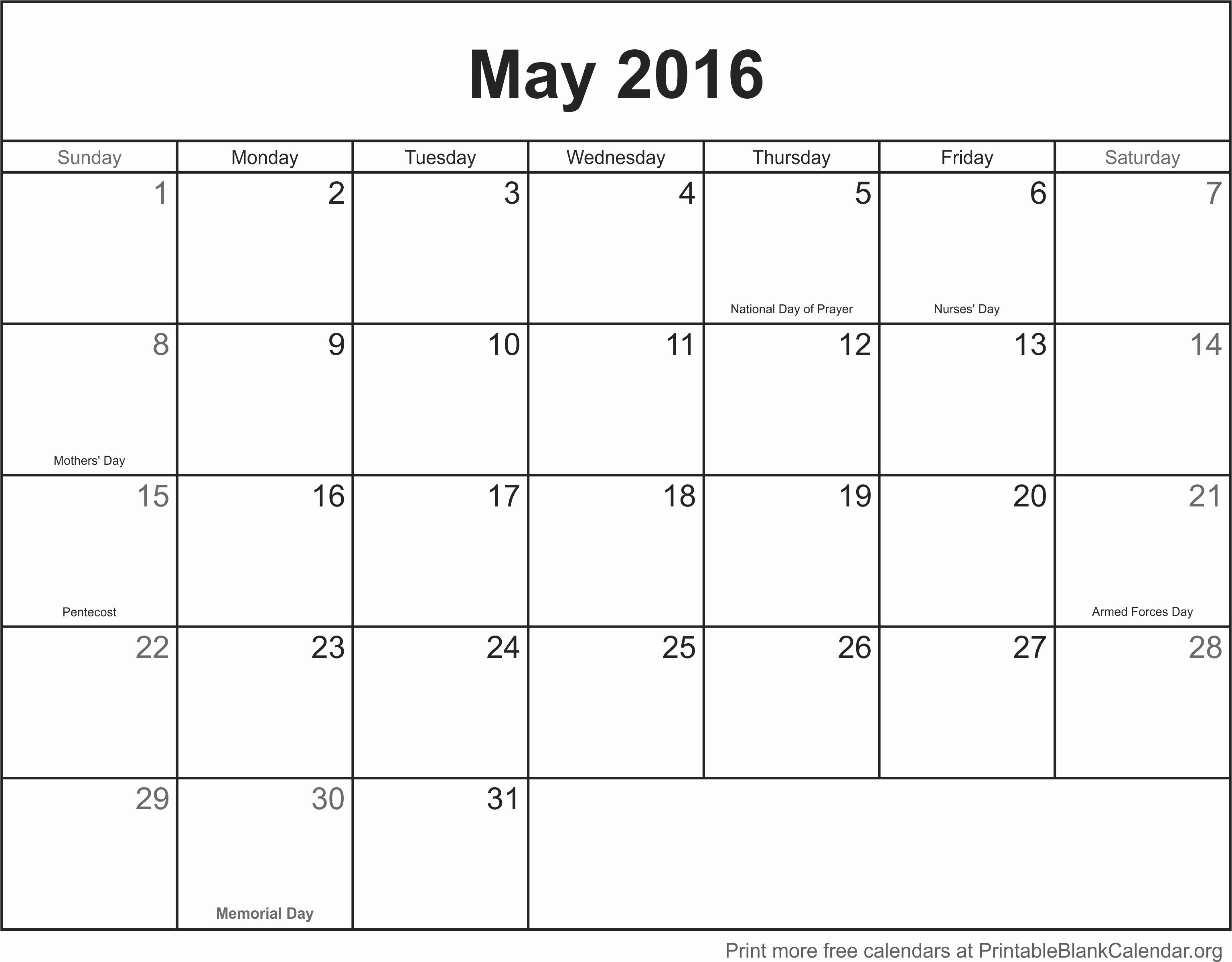 Blank Printable Calendar Or May 2016 Printable Calendar Printable regarding Full Size Blank Printable Calendar