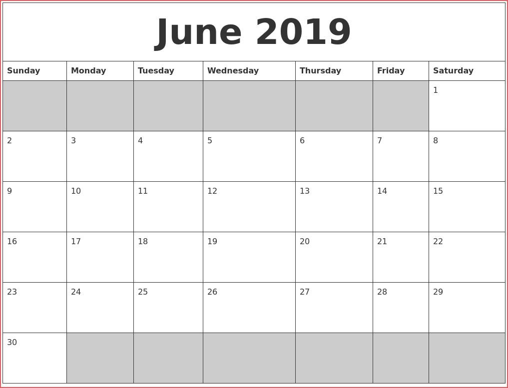 Blank Printable Calendars 2019 June 2019 Blank Printable Calendar throughout Full Size Blank Printable Calendar