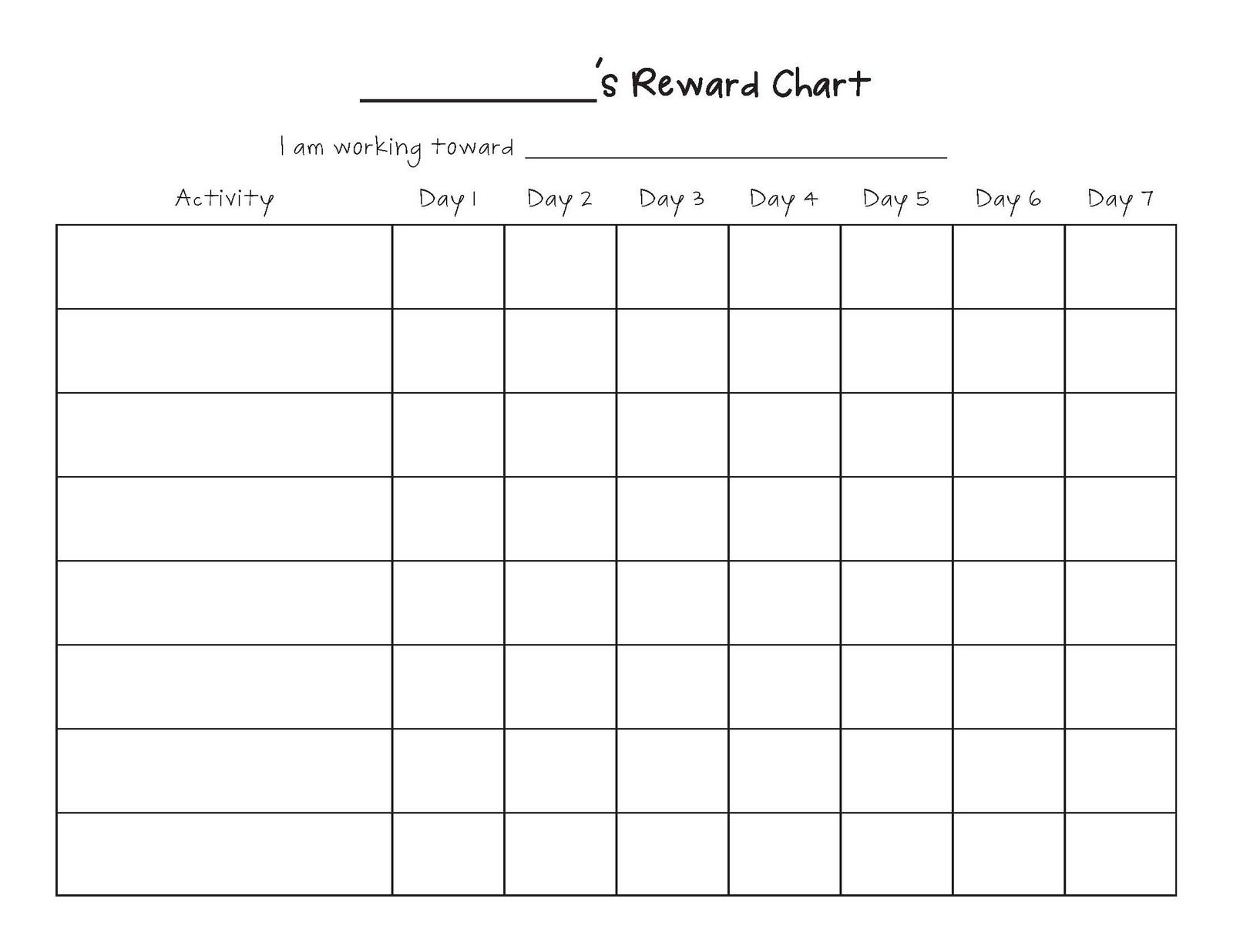 Blank Reward Chart Template - Infer.ifreezer.co throughout Behavior Charts For Kids Templates