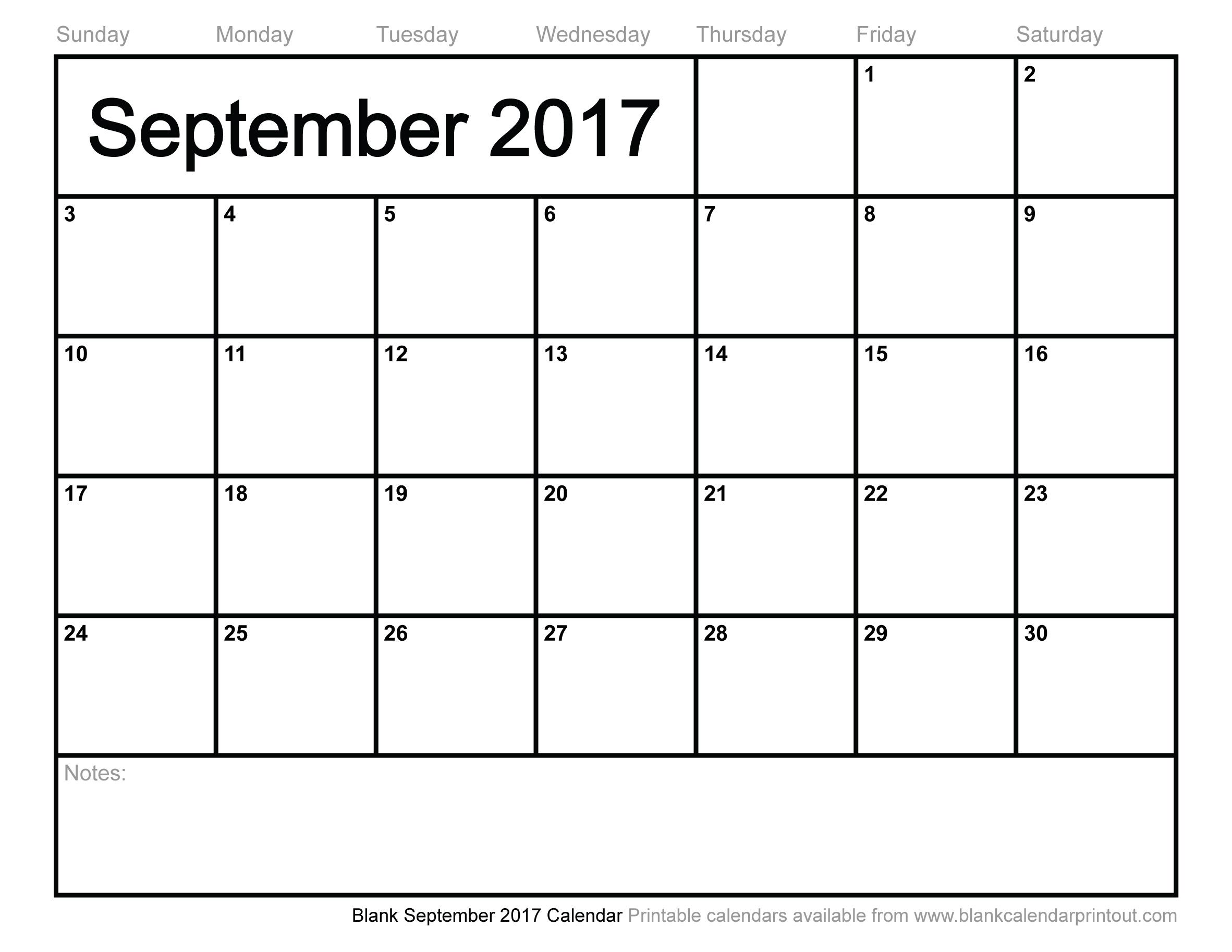 Blank-September-2017-Calendar throughout Printable Blank Aug Calendar