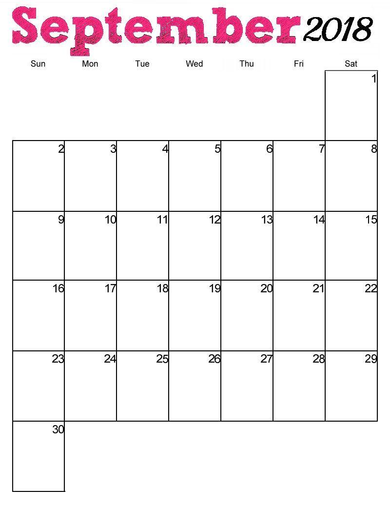 Blank September 2018 Calendar Vertical | September 2018 Calendar regarding Printable Blank Calendar Pages For September