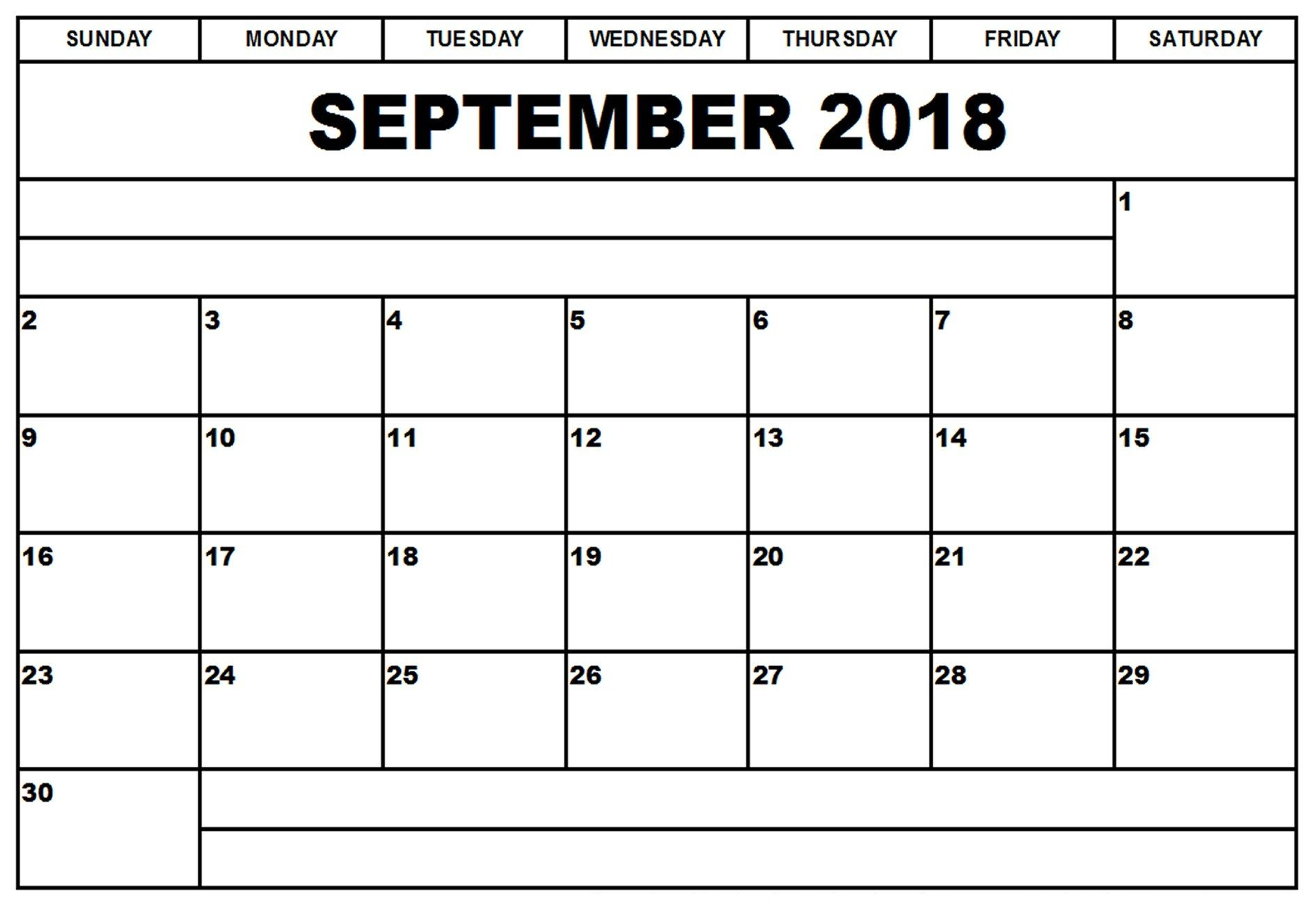 Blank September 2018 Clipart Calendar With Notes | Free Printable within Aug Calendar Clip Art Template