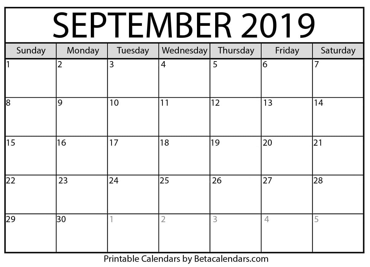 Blank September 2019 Calendar Printable - Beta Calendars with regard to Football Theme Blank Dates Calendar