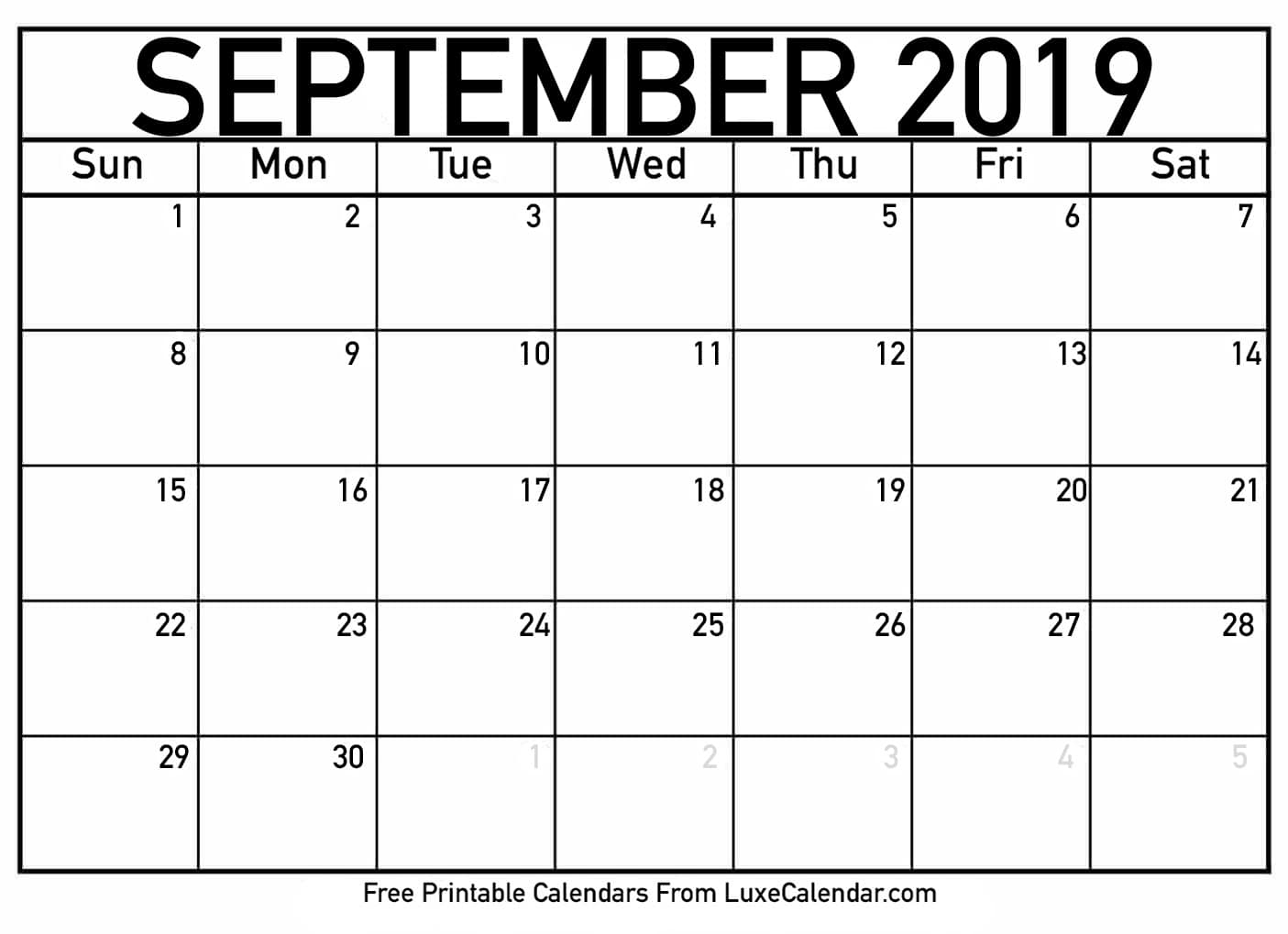 Blank September 2019 Calendar Printable - Luxe Calendar within Blank Calendars September Printable