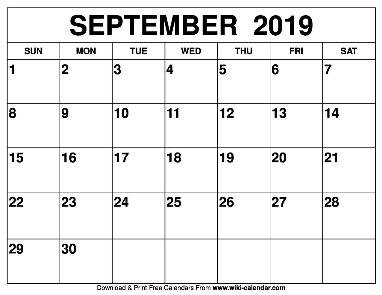 Blank September 2019 Calendar Printable throughout Blank Monthly Calendar September