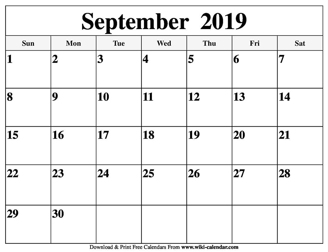 Blank September 2019 Calendar Printable with September Calendar Printable Template Blank