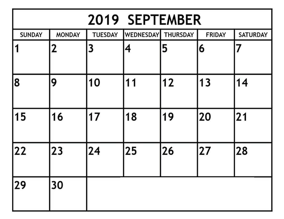 Blank September 2019 Calendar Template In Printable Editable Format with regard to Monday Sunday Calendar Template September