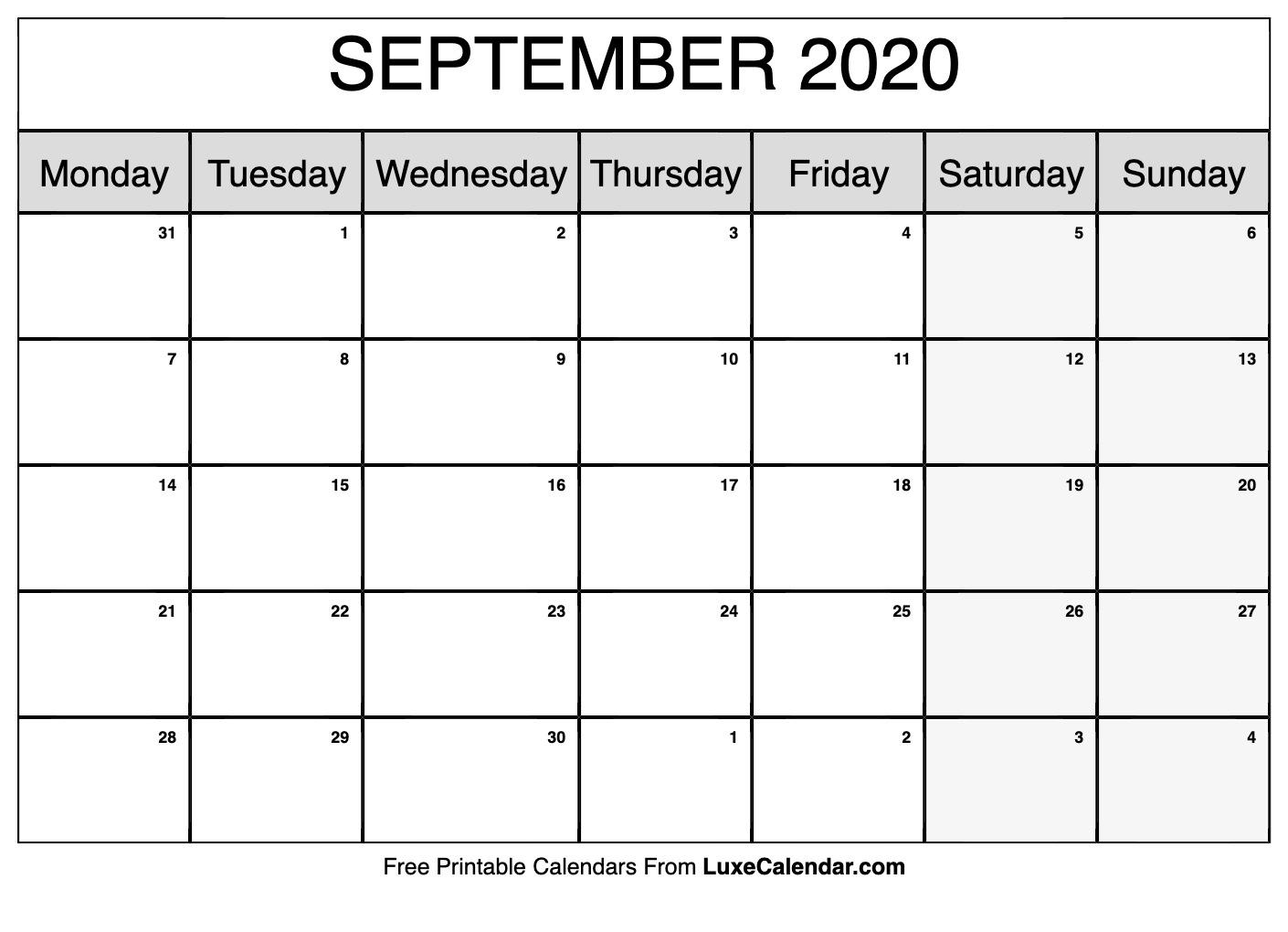 Blank September 2020 Calendar Printable - Luxe Calendar intended for Monday Sunday Calendar Template September