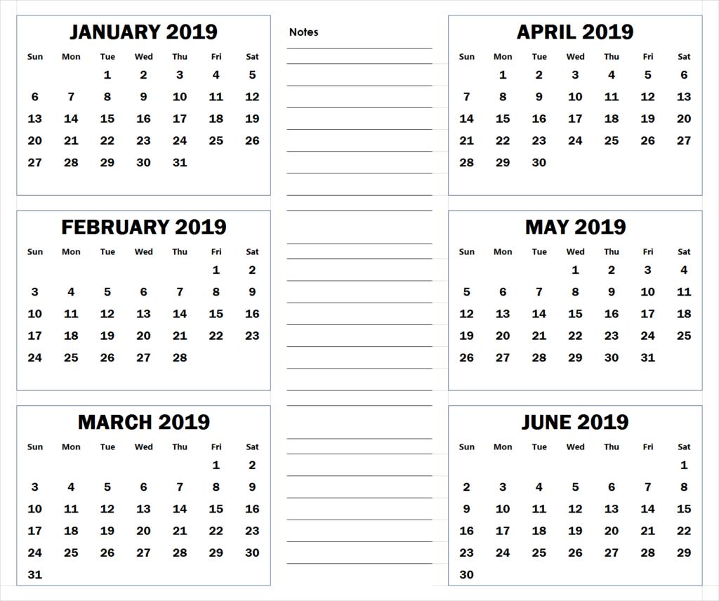 Blank Six Month 2019 Printable Calendar | 2019 Calendars | Blank within Blank 6 Month Calendar
