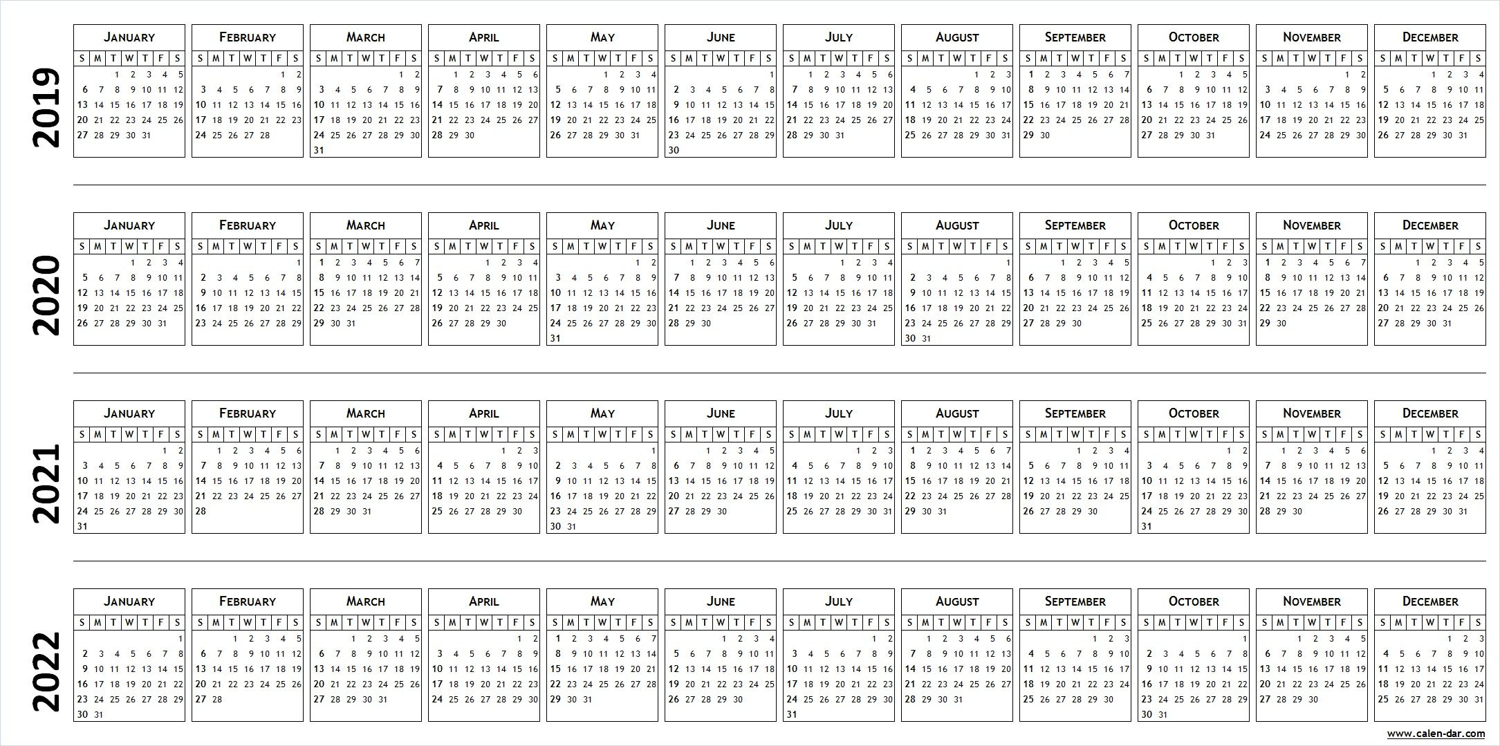 Blank Template For Calendar 2019 2020 2021 2022   Calendar   Blank for Blank Year Long Calendar 2022