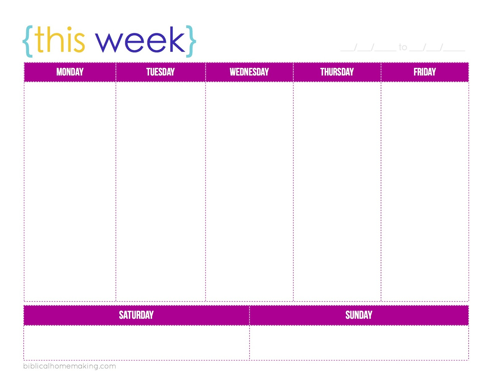 Blank Weekly Alendar Monday To Friday Through Template Word Free within Monday Through Friday Planner Template