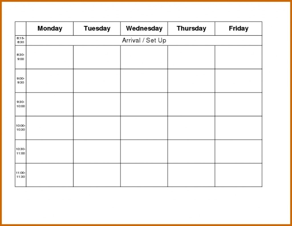 Blank Weekly Calendar Day Through Friday Sunday To Saturday Free throughout Blank Calendar Template Monday Friday