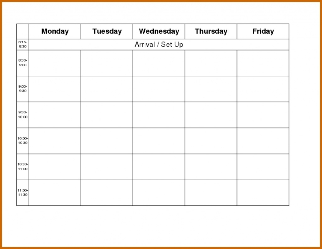 Blank Weekly Calendar Day Through Friday Sunday To Saturday Free within Template Monday Through Friday Calendar