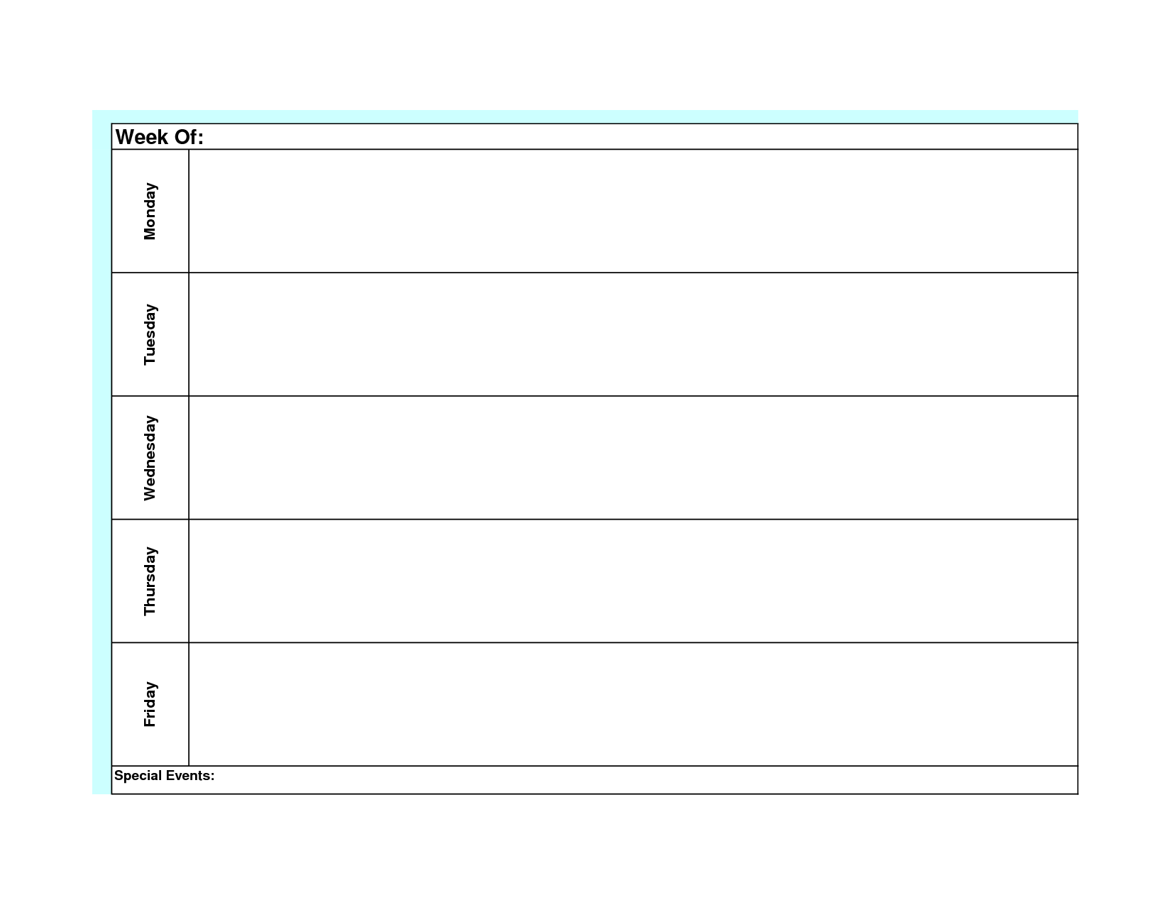 Blank Weekly Calendar Monday Through Friday Template Planner To | Smorad with Monday Through Friday Planner Template